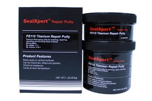 Super alloy titanium-reinforced epoxy compound for precision machined repairs to machinery and equipment. Withstands heavy loads in hard chemical environments