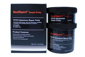 2 part epoxy putty heavily reinforced with aluminium powder used for fairing, bonding, repairing, rebuilding or patching aluminium parts, castings and equipment